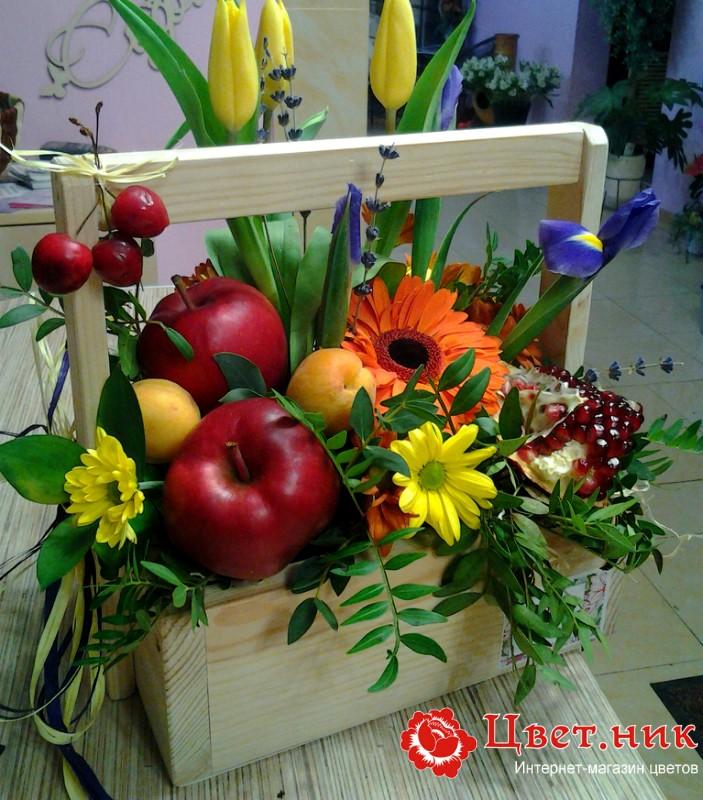 Букеты с фруктами и цветами фото как сделать 95